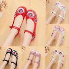 Women Casual Dance Chinese Old Peking Embroidered Flowers Wedge Heel Shoes