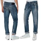 REPLAY jeans uomo GROVER SCAR straight elasticizzato destroyed vintage con toppe