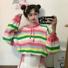 Lady Sweaters Top Knitted Hooded Rainbow Striped Short Loose Outwear Cute Casual