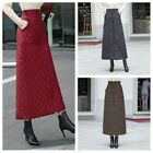 Lady High Waist Long Skirt Quilted Padded Slim Pocket Zipper Warm Windproof Chic