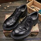 Mens Oxfords Retro Real Leather Formal Wing Tips British Round Toe Black Shoes