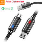 QC 3.0 4.0 Smart Auto Disconnect Micro USB Charger Fast Charging Cable Android