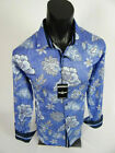 Mens BARABAS Premiere Classic Fit Shirt with Blue Floral Patterns Button Front