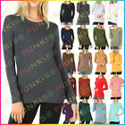 Womens Round Neck Long Sleeve Shirt Top COTTON Thermal Winter Gym Solid Basic