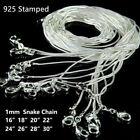 10x 925 Solid Sterling Silver Snake Chain Necklace Pendant 20 Inch Jewellery 1mm
