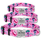 Floral Female Dog Collar Personalized Engraved Metal Buckle with Name Puppy S L