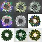 Pre-Lit Christmas Tree Wreath Door Wall Hanging Garland Ornaments Decorations