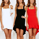 Womens Sexy Strappy Mini Dresses Hi-Low Ruffle Summer Party Holiday Slip Dresses