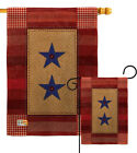 Two Star Service Burlap Garden Flag Armed Forces Gift Yard House Banner