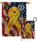 Support Our Troops Freedom Burlap Garden Flag Service Armed Forces Yard Banner