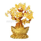 Feng Shui Citrine Yellow Crystal Fortune Wealth Tree Lucky Money For Home Decor!