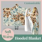 Personalized Colorful Pattern Floral Hooded Throw Blanket Fleece Hoodie Cape
