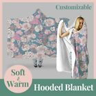 Personalized Colorful Blossom Floral Hooded Throw Blanket Fleece Hoodie Cape