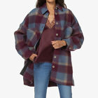 IRO Backpa Oversized Flannel Checked Plaid Shirt Jacket Top Coat Blazer $520