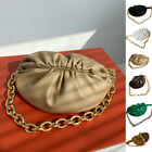 Mini Ruched Real Leather Clutch Belt Chain Pouch Crossbody Sling Shoulder Bag