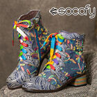 SOCOFY Women Embroidered Splicing Leather Short Boots Chunky Heel Shoes Printe