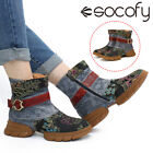 SOCOFY Women Leather Embroidery Splicing Casual Short Boot Shoes Sneakers Buckl
