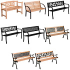 Garden Bench Outdoor Wooden Metal Picnic Seat Home Patio Furniture Rustic Iron 3