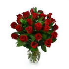 Valentine's Day, Red Roses with Premium Greens, Two Dozen, Vase Included