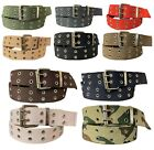 Внешний вид - Men's Canvas Belt Double Grommet Double Prong 100% Cotton Durable Work or Casual