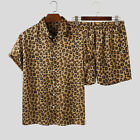 US STOCK Men Short Sleeve Leopard Printed Casual Beach Suits T Shirts Short Sets