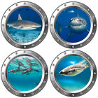 3D Porthole Underwater Wall Stickers Bathroom Sea Life Animal Decal Vinyl Poster