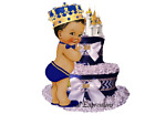 Prince Royal Blue Gold Ribbon Diaper Cake Baby Shower Gift & Centerpiece