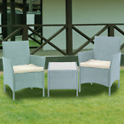 Outdoor Garden Furniture 3pc Rattan Set 2 Armchair With Cushion & Coffee Table