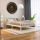 Milan Double Bed 4FT6 High Foot End Wood Frame Mattress Memory Foam Spring White