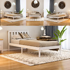 Milan Wood Bed Frame Single Double King Size 3ft 4ft6 5ft Modern Low Foot White