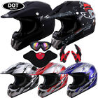 DOT Helmet Adult BMX Motorcycle ATV Dirt Bike Off Road Motocross Goggles Gloves