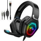 Gaming Headset with Mic & RGB Lights for Xbox PS4/5 PC Switch, Gaming Headphones