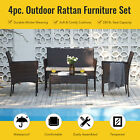 Wicker 4pc Outdoor Furniture Set With 2 Chairs Sofa Glasstop Table Walnut Beige