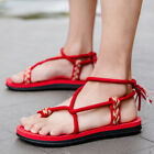 Mens Flats Boho style Thong Summer Beach Sandals Strappy Outdoor Casual Shoes SZ