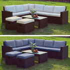 Outdoor 8 Seater Rattan With Dining Table Corner Sofa Garden Furniture Set