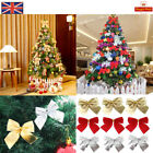 12+Christmas+Tree+Bow+Decoration+Baubles+XMAS+Party+Glitter+Garden+Bows+Ornament