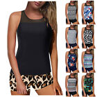 Women Tankini Swimsuit Tummy Control Top With Shorts Two Piece Bathing Suit