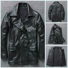 Luxury Mens Double Breasted Cowhide Leather Jacket Motorcycle Lapel Trench Coats
