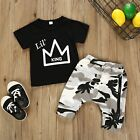 Baby Boy Kid Letter Printed T shirt Tops Camouflage Printed Shorts Outfits Set
