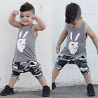 Toddler Kids Baby Boys Tops Victory T Shirt Vest Camouflage Shorts Outfits Set
