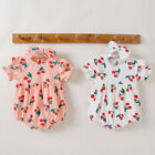 Newborn Infant Baby Girls Print Ruched Romper Bodysuit Hairband Clothes Outfits