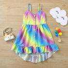 Toddler Kids Baby Girls Rainbow Multicolor Button Slip Dress Clothes Sling Dress