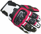 Cortech Apex ST Women's Leather Short Motorcycle Glove BLACK WHITE PINK