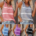 Women Sleeveless Striped Vest Tank Tops Summer Casual Loose T Shirts Blouse New