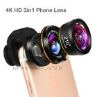 4K HD 3in1 Fisheye Phone Lens Wide Angle Lens Macro Lens For iPhone 12 Pro 11 XS