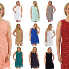 New Womens Plus Size Lace Dress Ladies Sequin Fashion Sleeveless Partywear Tunic