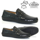 MENS NEW LEATHER SHOES SLIP ON LOAFERS CASUAL DRIVING MOCCASIN BOAT DECK SIZE