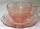 JEANNETTE GLASS CO. VINTAGE CHERRY BLOSSOM PINK CUP SAUCER SET!!