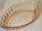 "JEANNETTE GLASS CO. WINDSOR DIAMOND PINK 11-3 4"" x 7"" OVAL BOAT-SHAPED BOWL!"