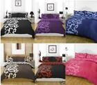 CHELSEA DUVET COVER BED SET (BLACK BROWN RED OR PURPLE)